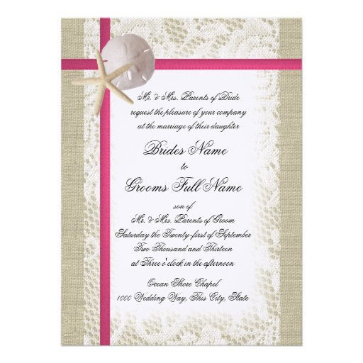 Beach Burlap and Lace Fuchsia Wedding Custom Announcement