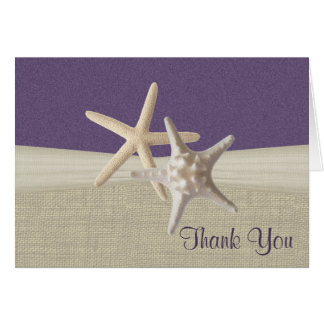 Beach Burlap and Starfish Thank You Card