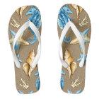 Beach Burlap Seashell Nautical Starfish + Seahorse Flip Flops