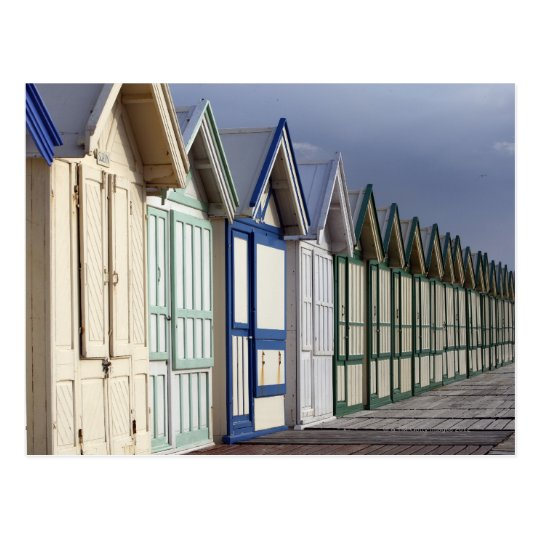 Beach cabins on a 2 km boardwalk postcard