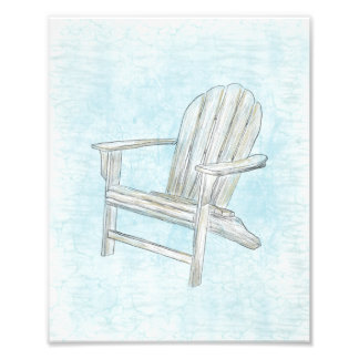 Beach chair adirondack chair beach cottage decor photo print