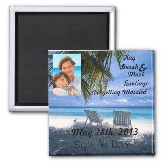 Beach chair Save the date wedding magnet w/photo!!