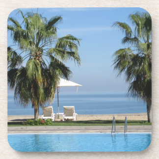 Beach Chairs and Umbrella, Palms, Ocean, Pool Drink Coaster