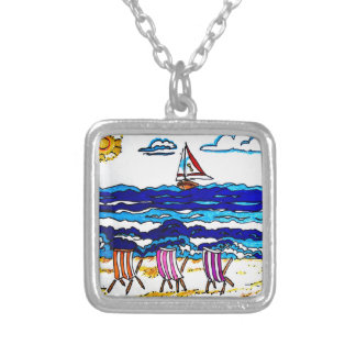 BEACH CHAIRS AT SEASIDE SILVER PLATED NECKLACE