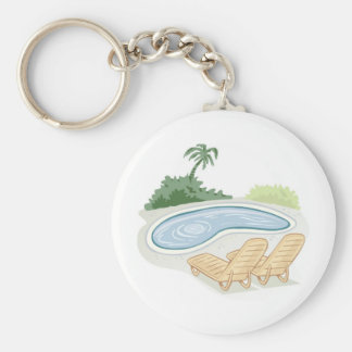 Beach Chairs by Pool Basic Round Button Keychain