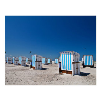 Beach chairs on shore of the Baltic Sea Postcard