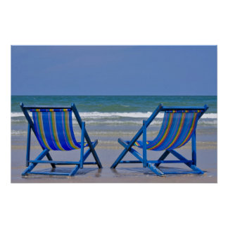 beach chairs poster