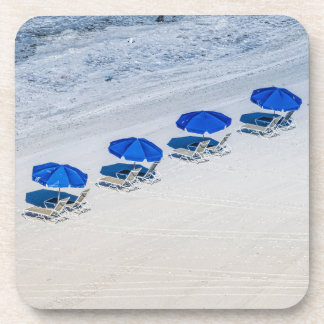 Beach Chairs with Blue Umbrella on Madeira Beach Drink Coasters