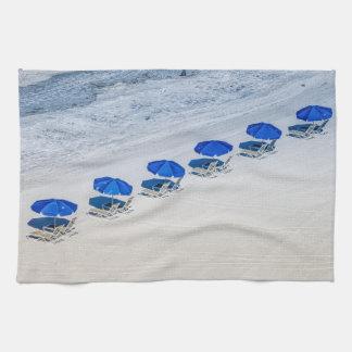 Beach Chairs with Blue Umbrella on Madeira Beach Hand Towel