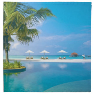 Beach chairs with umbrellas with   sunshine cloth napkin