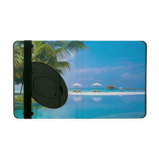 Beach chairs with umbrellas with sunshine iPad folio case
