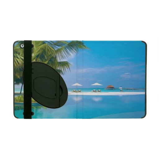 Beach chairs with umbrellas with sunshine iPad folio case