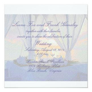 beach champagne wedding invitation