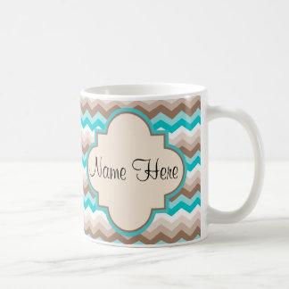 Beach Chevron Zigzag Name Coffee Mug