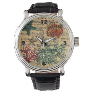 beach chic coastal coral seahorse seashell wristwatch
