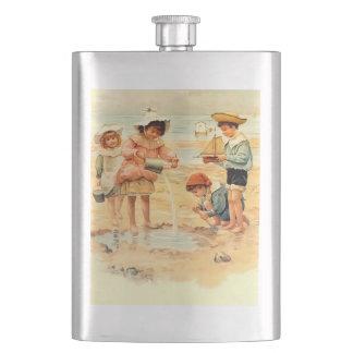 Beach Children Vintage Victorian Sand Hip Flask