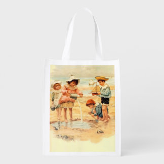 Beach Children Vintage Victorian Sand Reusable Grocery Bag