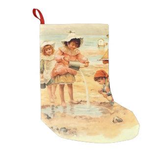 Beach Children Vintage Victorian Sand Small Christmas Stocking
