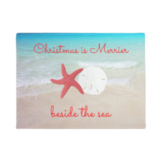 Beach Christmas Merrier by the Sea Door Mat