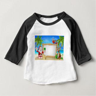Beach Christmas Santa and Reindeer Baby T-Shirt
