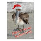 Beach Christmas Santa Pelican Card