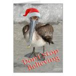 Beach Christmas Santa Pelican Greeting Card