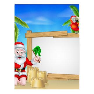 Beach Christmas Santa Postcard