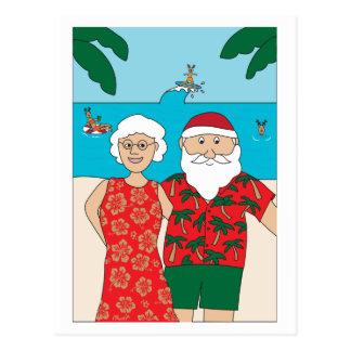 Beach Christmas Santa Selfie Postcard