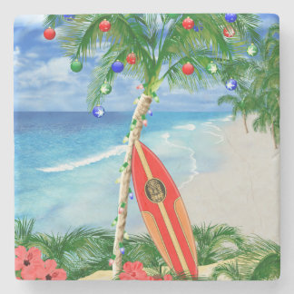 Beach Christmas Stone Coaster