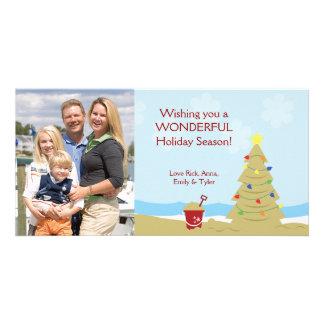 BEACH Christmas Tree Sand Castle Vacation 8x4 Photo Card