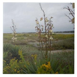 Beach Clouds and Wildflowers - Oak Island, NC Tile