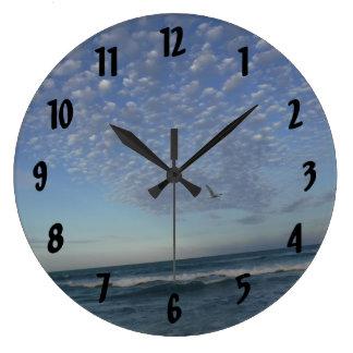 Beach Clouds Large Clock