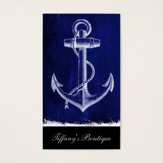 beach coastal chic nautical navy blue anchor business card