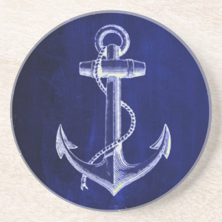 beach coastal chic nautical navy blue anchor coaster