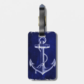 beach coastal chic nautical navy blue anchor luggage tag