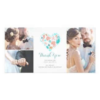 Beach Coastal Nautical Heart Wedding Thank You Customized Photo Card