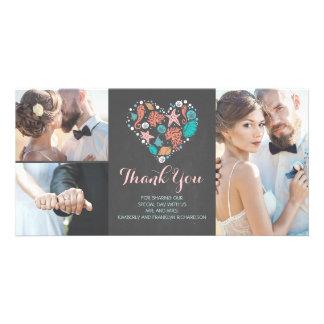 Beach Coastal Nautical Heart Wedding Thank You Photo Card