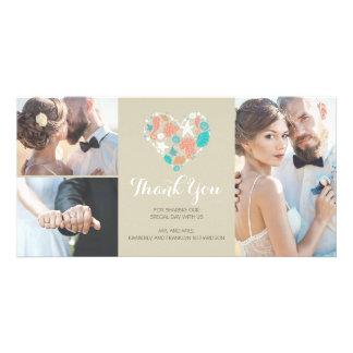 Beach Coastal Nautical Heart Wedding Thank You Photo Card Template