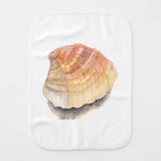 Beach Cockle Sea shell, yellow and orange Burp Cloth