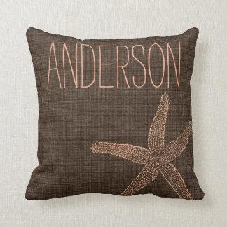 Beach Collection Starfish Custom Name Throw Pillow
