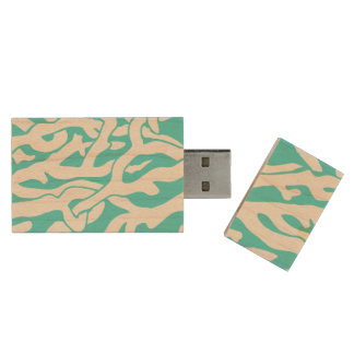 Beach Coral Reef Pattern Nautical White Blue Wood USB 2.0 Flash Drive