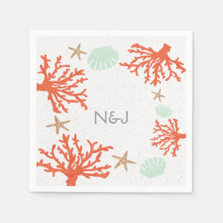 Beach Coral Reef Sea Shell & Starfish Napkins Disposable Napkins