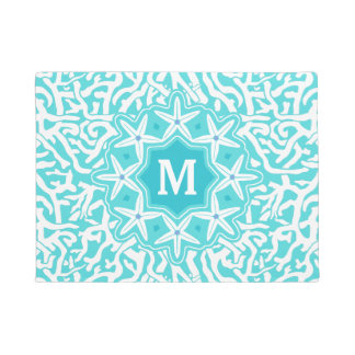 Beach Coral Reef Starfish Monogram in Aqua Blue Doormat