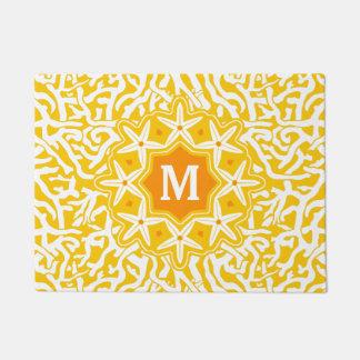 Beach Coral Reef Starfish Monogram in Sunny Yellow Doormat