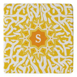 Beach Coral Reef Starfish Monogram in Sunny Yellow Trivet
