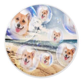 Beach Corgis Ceramic Knob