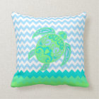 Beach Cottage Ocean Turtle Accent Pillow