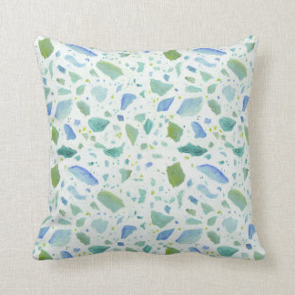 Beach Cottage Sea Glass Terrazzo Painted Pattern Throw Pillow