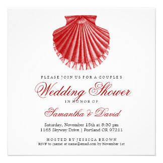 Beach Couple s Wedding Shower Scallop Shell Red Invitation