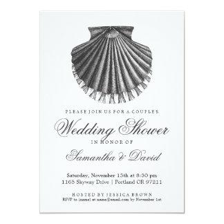 "Beach Couple's Wedding Shower Scallop Shell Charco 5"" X 7"" Invitation Card"